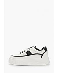 Женские бело-черные кожаные низкие кеды от Sweet Shoes
