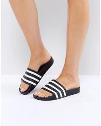 Бело-черные кожаные сандалии на плоской подошве от adidas Originals
