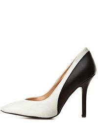 Бело-черные кожаные туфли