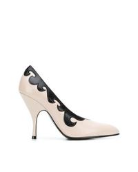 Бело-черные кожаные туфли от Bottega Veneta