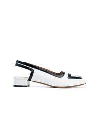 Бело-черные кожаные туфли от Marni