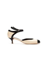 Бело-черные кожаные туфли от Sarah Chofakian