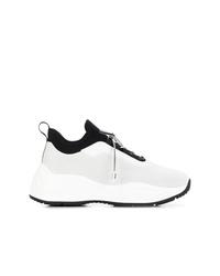 Женские бело-черные кроссовки от Prada