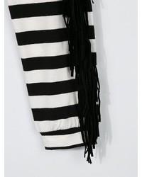 Детские бело-черные леггинсы в горизонтальную полоску для девочек