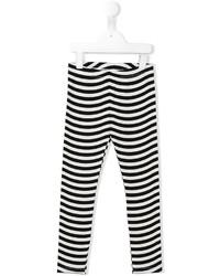 Детские бело-черные леггинсы в горизонтальную полоску для девочке от Fendi