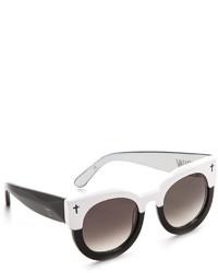 Женские бело-черные солнцезащитные очки от Cat Eye