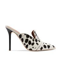 Бело-черные туфли из ворса пони с принтом