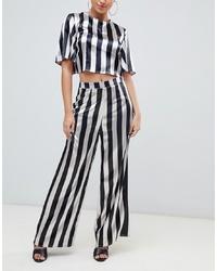 Бело-черные широкие брюки в вертикальную полоску от Missguided