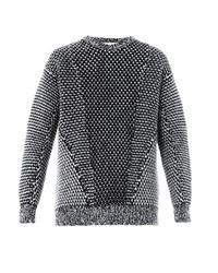 Бело-черный вязаный свободный свитер