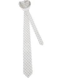 Бело-черный галстук в горошек