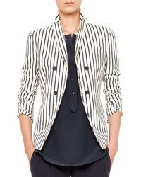 Бело-черный двубортный пиджак в вертикальную полоску