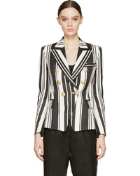 Женский бело-черный двубортный пиджак в вертикальную полоску от Balmain