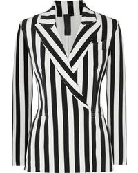 Женский бело-черный двубортный пиджак в вертикальную полоску от Norma Kamali