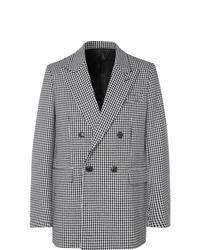 """Бело-черный двубортный пиджак с узором """"гусиные лапки"""""""