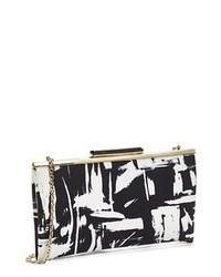 Бело-черный кожаный клатч с принтом