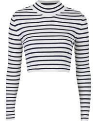 Бело-черный короткий свитер в горизонтальную полоску