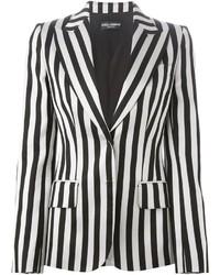 Бело-черный пиджак в вертикальную полоску