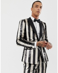 Мужской бело-черный пиджак в вертикальную полоску от ASOS Edition