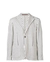Мужской бело-черный пиджак в вертикальную полоску от Eleventy