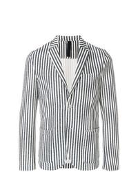 Мужской бело-черный пиджак в вертикальную полоску от Harris Wharf London