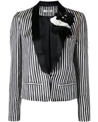 Женский бело-черный пиджак в вертикальную полоску от Lanvin