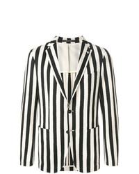 Мужской бело-черный пиджак в вертикальную полоску от Tagliatore