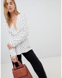 Женский бело-черный пиджак в горошек от ASOS DESIGN