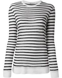 Бело-черный свитер с круглым вырезом в горизонтальную полоску