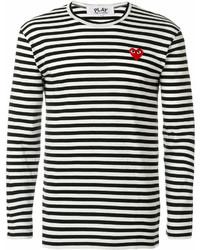 Мужской бело-черный свитер с круглым вырезом в горизонтальную полоску от Comme des Garcons