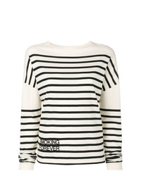 Женский бело-черный свитер с круглым вырезом в горизонтальную полоску от Saint Laurent