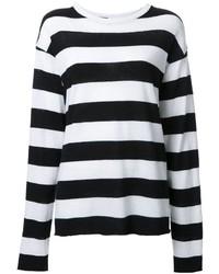 Женский бело-черный свитер с круглым вырезом в горизонтальную полоску от The Elder Statesman