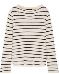 Женский бело-черный свитер с круглым вырезом в горизонтальную полоску от The Row