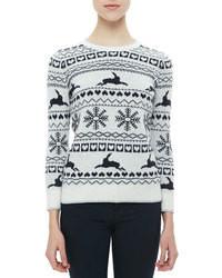 Бело-черный свитер с круглым вырезом с жаккардовым узором