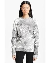 Бело-черный свитер с круглым вырезом с принтом