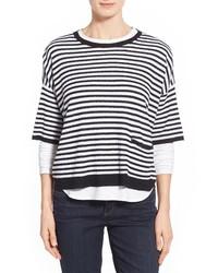 Бело-черный свободный свитер в горизонтальную полоску