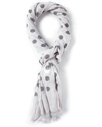 Бело-черный шарф в горошек