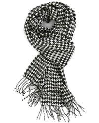 """Бело-черный шарф с узором """"гусиные лапки"""""""