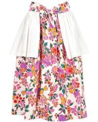 Бело-ярко-розовая пышная юбка с цветочным принтом от Saint Laurent