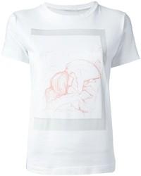 Женская бело-ярко-розовая футболка с круглым вырезом с принтом от Societe Anonyme