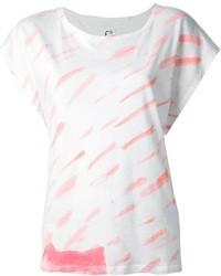 Женская бело-ярко-розовая футболка с круглым вырезом с принтом от Tsumori Chisato