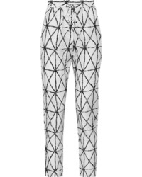 Белые брюки-галифе с принтом