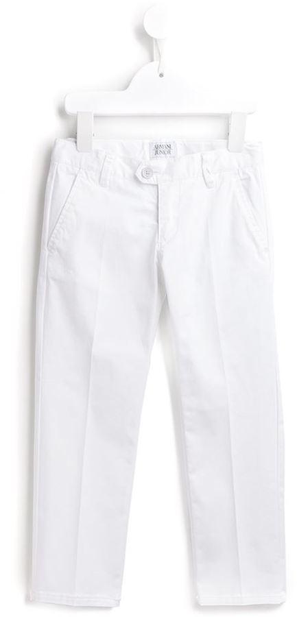 Детские белые брюки для мальчиков от Armani Junior