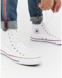 Мужские белые высокие кеды из плотной ткани от Converse