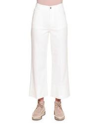 Белые джинсовые брюки-кюлоты