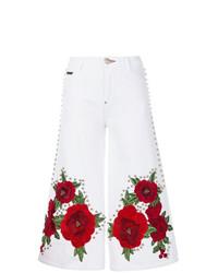 Белые джинсовые широкие брюки с принтом от Philipp Plein