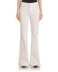 Белые джинсовые широкие брюки