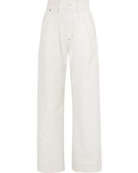 Белые джинсовые широкие брюки от Goldsign
