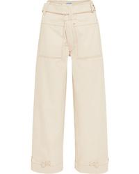 Белые джинсовые широкие брюки от Mugler