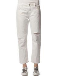 Белые джинсы-бойфренды