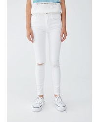 Белые джинсы скинни от Pull&Bear